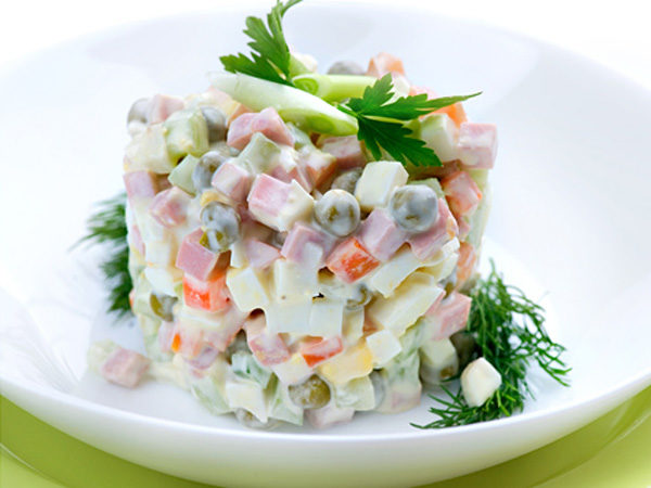 Salad Olivier. Russian traditional salad